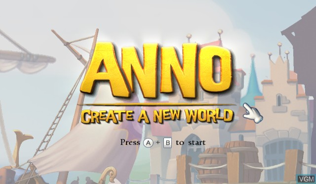 Title screen of the game ANNO - Create a New World on Nintendo Wii