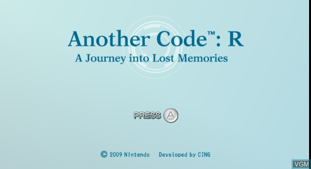 Title screen of the game Another Code R - A Journey into Lost Memories on Nintendo Wii