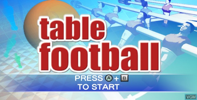 Title screen of the game Table Football on Nintendo Wii