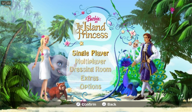 Title screen of the game Barbie as The Island Princess on Nintendo Wii