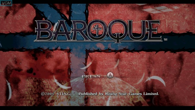 Title screen of the game Baroque on Nintendo Wii