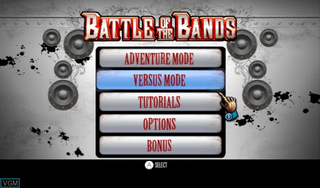 Title screen of the game Battle of the Bands on Nintendo Wii