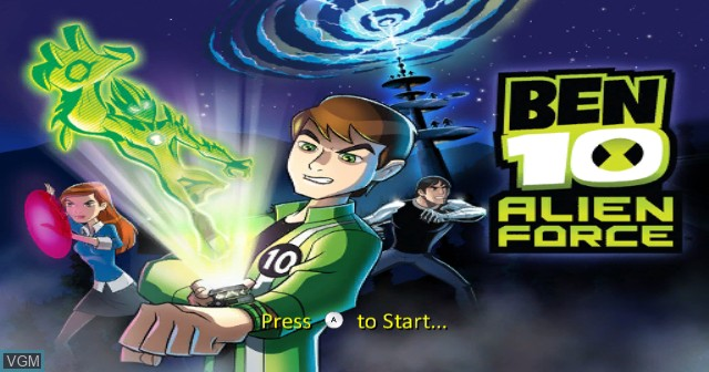 Title screen of the game Ben 10 - Alien Force on Nintendo Wii