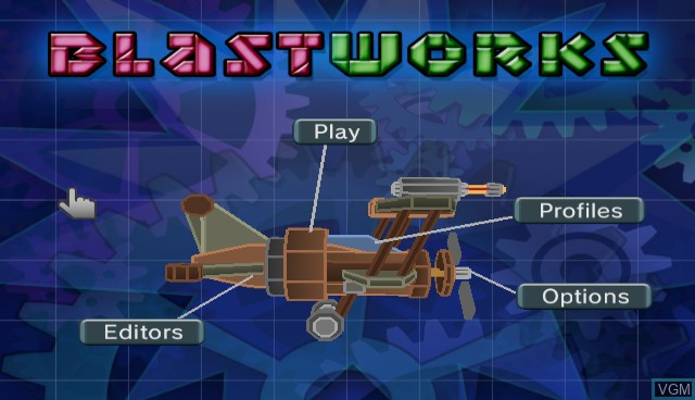 Title screen of the game Blast Works - Build, Trade, Destroy on Nintendo Wii