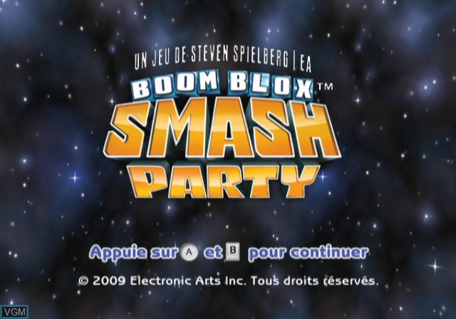 Title screen of the game Boom Blox - Bash Party on Nintendo Wii