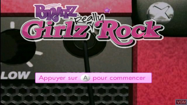 Title screen of the game Bratz - Girlz Really Rock on Nintendo Wii