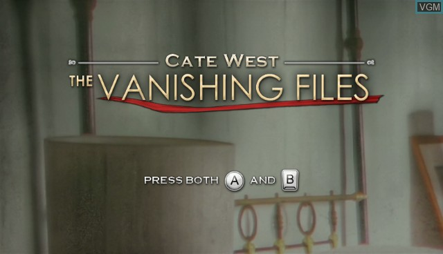 Title screen of the game Cate West - The Vanishing Files on Nintendo Wii