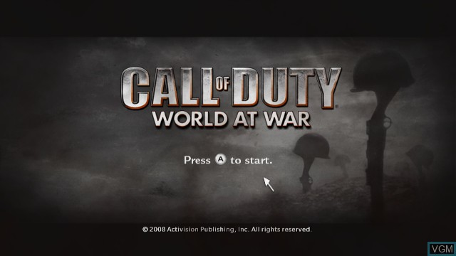 Title screen of the game Call of Duty - World at War on Nintendo Wii