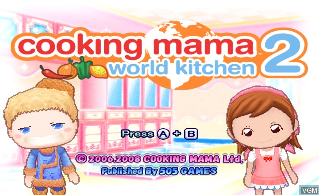 Title screen of the game Cooking Mama 2 - World Kitchen on Nintendo Wii