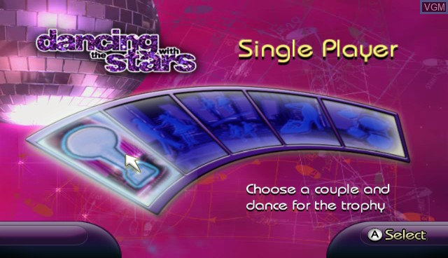 Title screen of the game Dancing with the Stars on Nintendo Wii