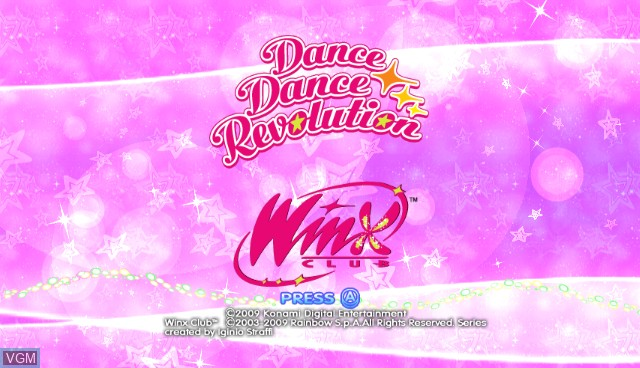 Title screen of the game Dance Dance Revolution - Winx Club on Nintendo Wii
