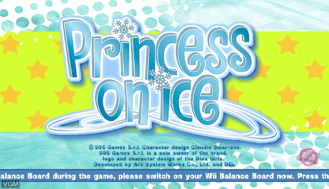 Title screen of the game Diva Girls - Princess on Ice on Nintendo Wii