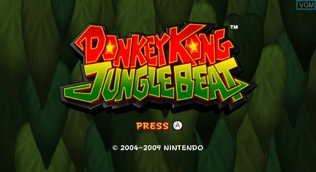 Title screen of the game Donkey Kong Jungle Beat on Nintendo Wii