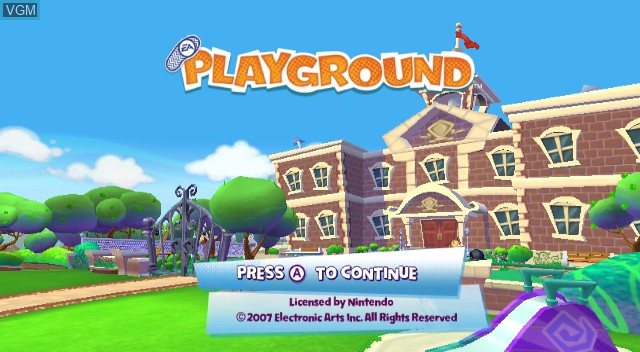 Title screen of the game EA Playground on Nintendo Wii