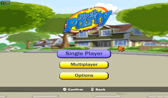 Title screen of the game Block Party on Nintendo Wii