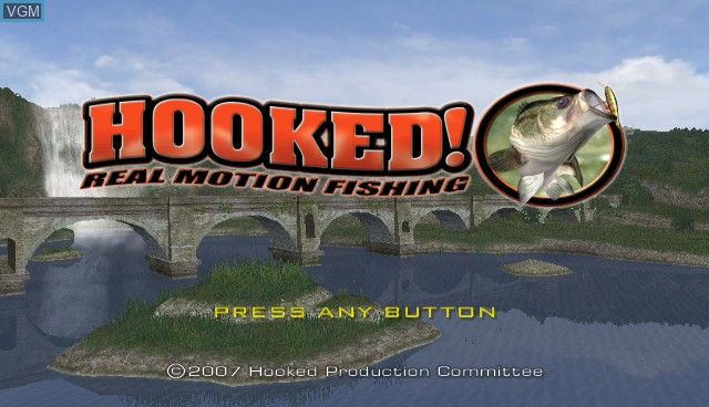 Title screen of the game Hooked! Real Motion Fishing on Nintendo Wii