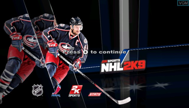 Title screen of the game NHL 2K9 on Nintendo Wii