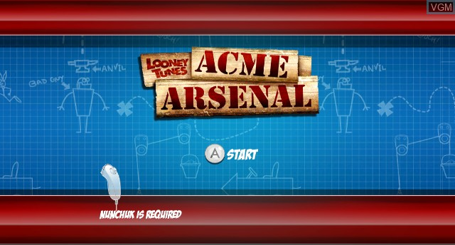 Title screen of the game Looney Tunes - Acme Arsenal on Nintendo Wii