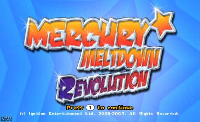Title screen of the game Mercury Meltdown Revolution on Nintendo Wii