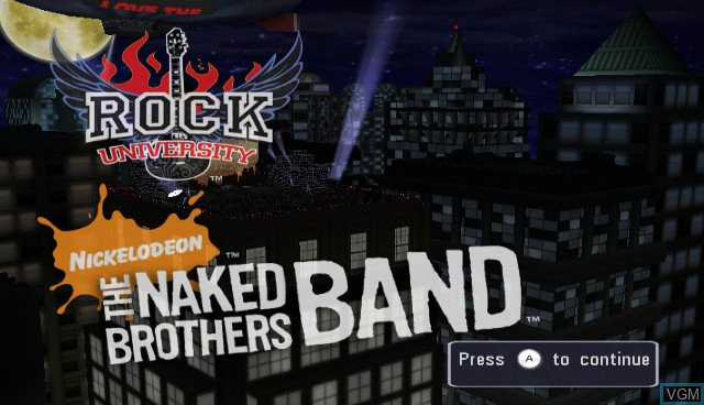 Title screen of the game Naked Brothers Band, The - The Videogame on Nintendo Wii