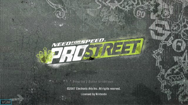 Title screen of the game Need for Speed ProStreet on Nintendo Wii
