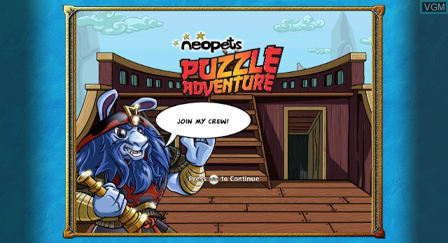 Title screen of the game Neopets Puzzle Adventure on Nintendo Wii