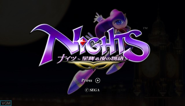 Title screen of the game NiGHTS - Journey of Dreams on Nintendo Wii