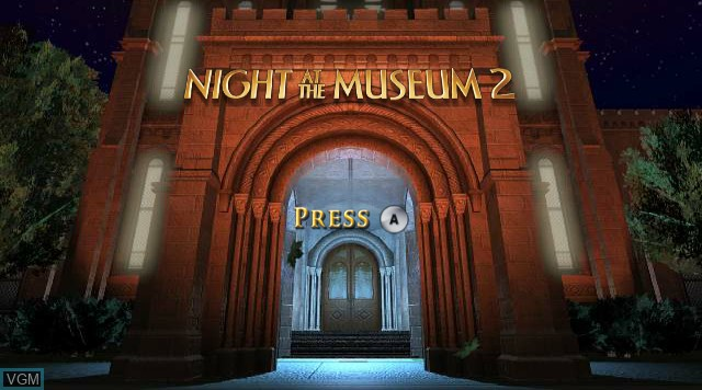 Title screen of the game Night at the Museum - Battle of the Smithsonian on Nintendo Wii