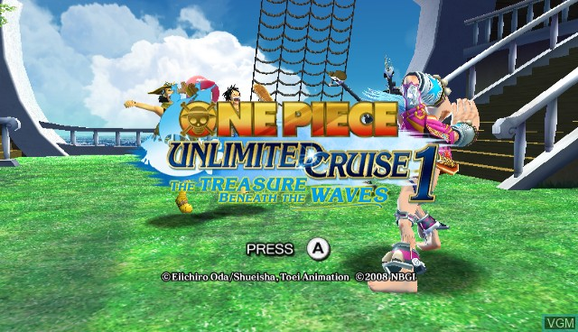 Title screen of the game One Piece Unlimited Cruise 1 - The Treasure Beneath the Waves on Nintendo Wii