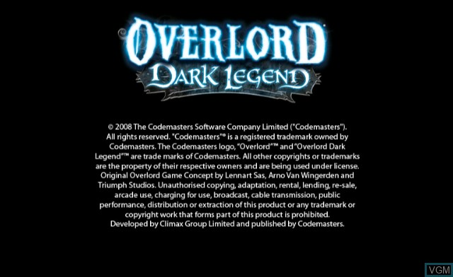 Title screen of the game Overlord - Dark Legend on Nintendo Wii