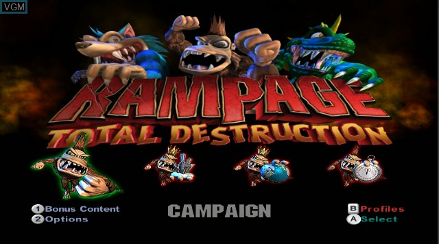 Title screen of the game Rampage - Total Destruction on Nintendo Wii