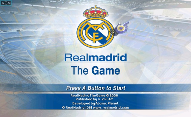 Title screen of the game Real Madrid - The Game on Nintendo Wii