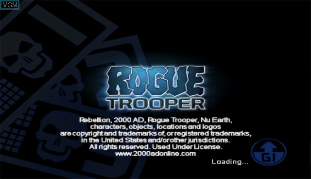 Title screen of the game Rogue Trooper - Quartz Zone Massacre on Nintendo Wii