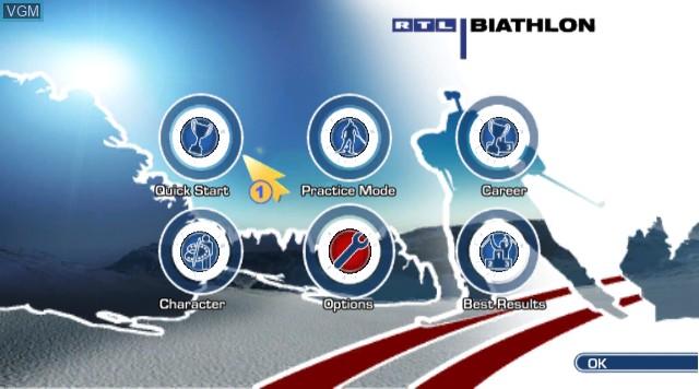 Title screen of the game RTL Biathlon 2009 on Nintendo Wii