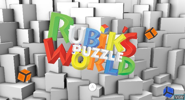 Title screen of the game Rubik's Puzzle World on Nintendo Wii