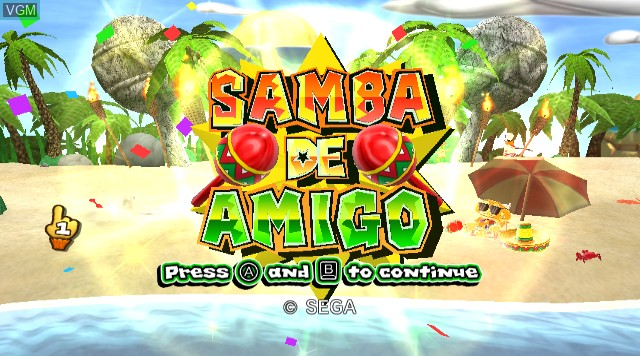 Title screen of the game Samba de Amigo on Nintendo Wii