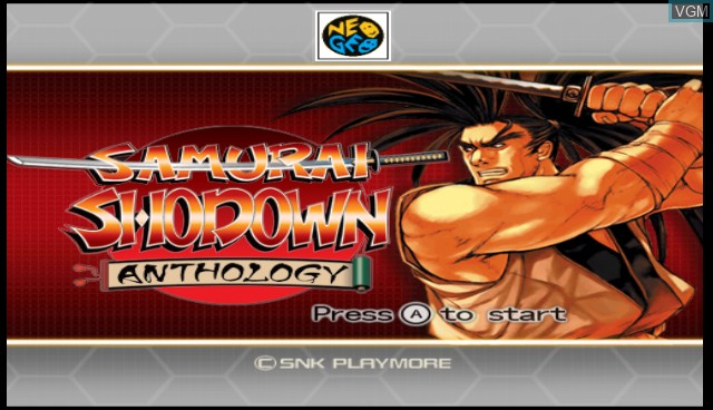 Title screen of the game Samurai Shodown Anthology on Nintendo Wii