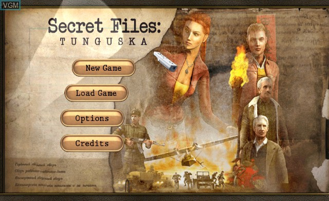 Title screen of the game Secret Files - Tunguska on Nintendo Wii