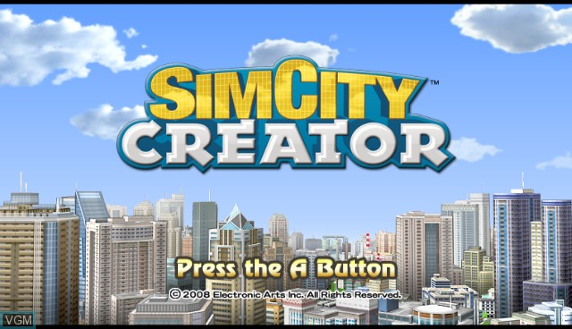 Title screen of the game SimCity Creator on Nintendo Wii