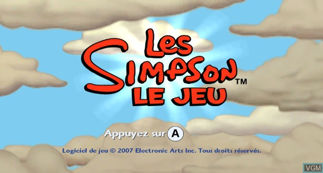 Title screen of the game Simpsons Game, The on Nintendo Wii