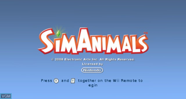 Title screen of the game SimAnimals on Nintendo Wii