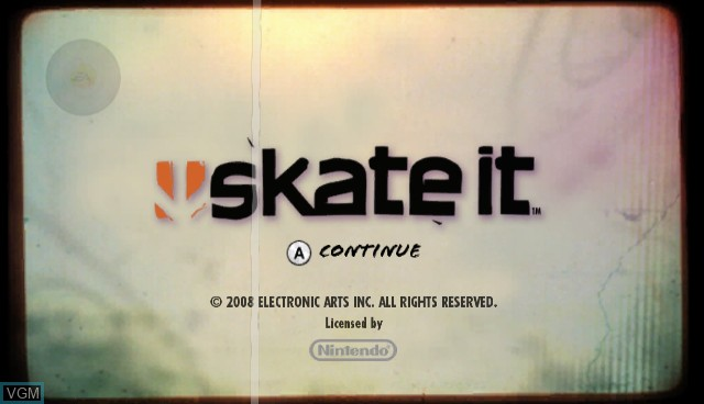 Title screen of the game Skate It on Nintendo Wii
