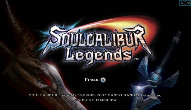 Title screen of the game Soul Calibur Legends on Nintendo Wii