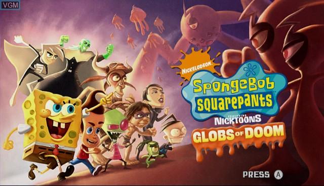 Title screen of the game SpongeBob SquarePants featuring Nicktoons - Globs of Doom on Nintendo Wii