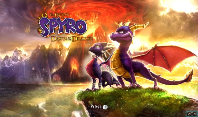 Title screen of the game Legend of Spyro, The - Dawn of the Dragon on Nintendo Wii