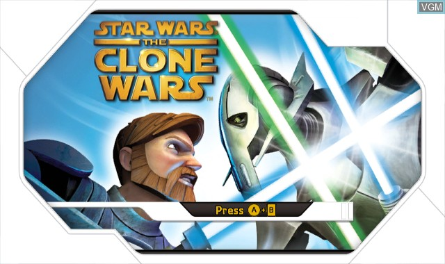 Title screen of the game Star Wars The Clone Wars - Lightsaber Duels on Nintendo Wii
