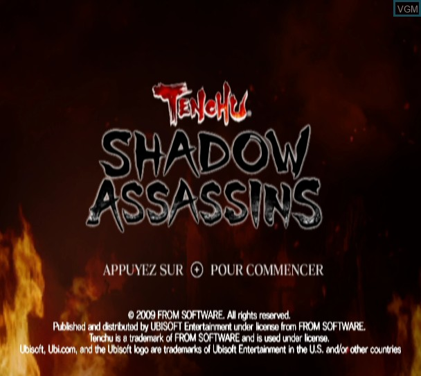 Title screen of the game Tenchu - Shadow Assassins on Nintendo Wii