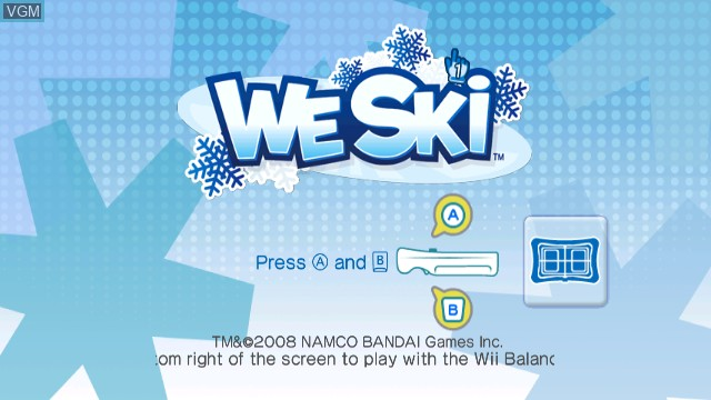 Title screen of the game We Ski on Nintendo Wii