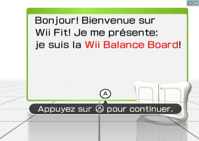 Title screen of the game Wii Fit on Nintendo Wii