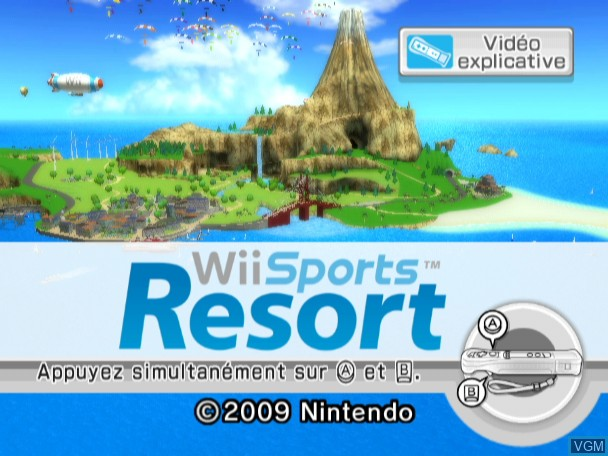 Title screen of the game Wii Sports Resort on Nintendo Wii
